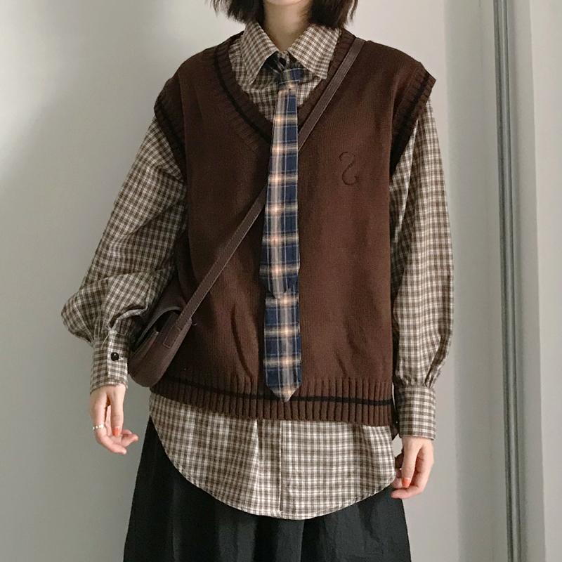 【送料無料】スクールボーイ♡ ネクタイ × ニットベスト × チェックシャツ 3点セット