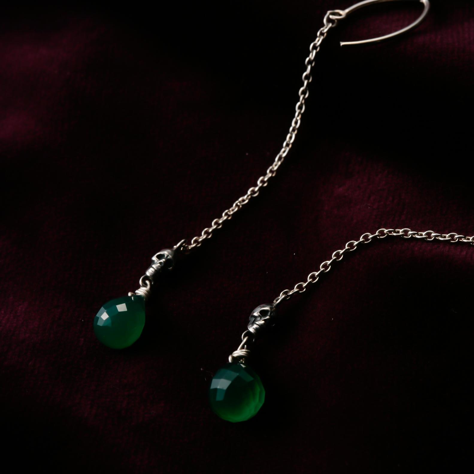 Green Agate Skull Object Pierced Earrings