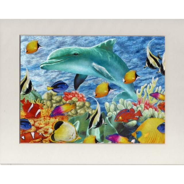 【アルミ彫刻画】イルカと熱帯魚[a306ms]