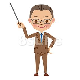 イラスト素材:指し棒を使って解説する中年のサラリーマン(ベクター・JPG)