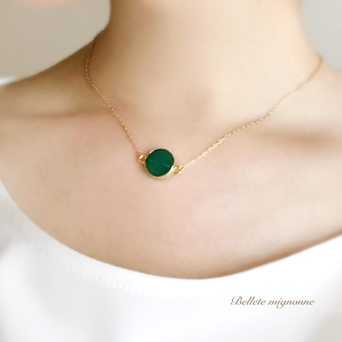 【再販】charme(魔法の薬) * 北欧の深い森、グリーンオニキスのネックレス