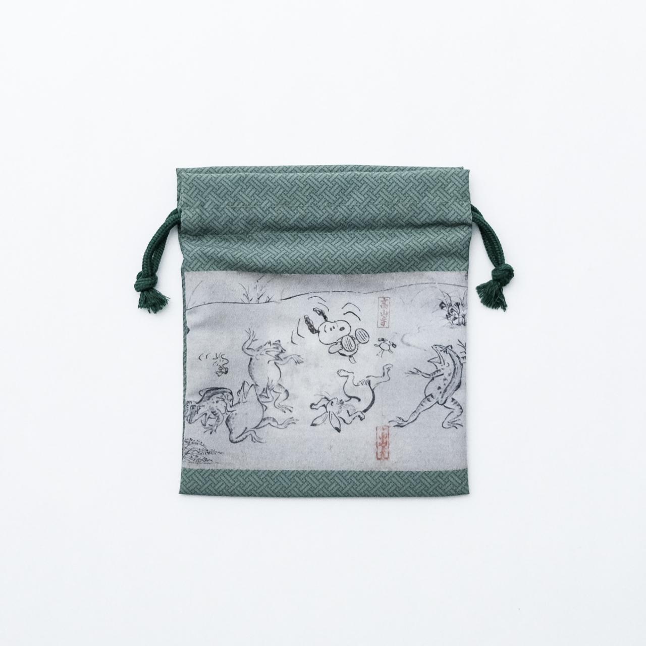 スヌーピー 巾着緑 鳥獣戯画