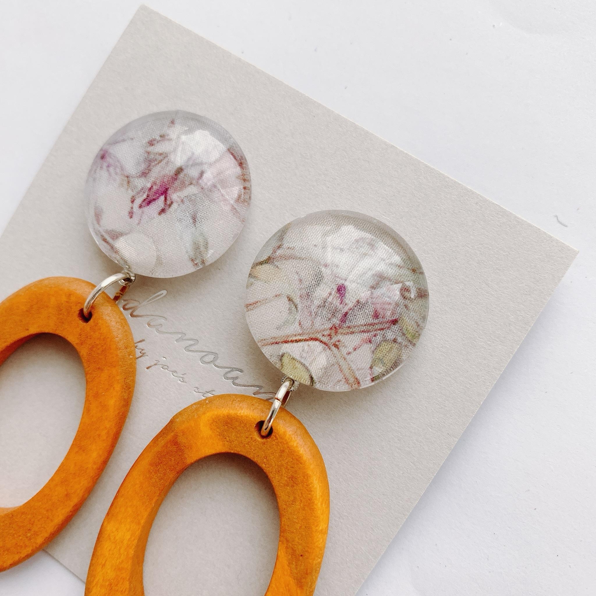 """ Earrings NO.danoan-1-1836″リバティ×ウッドビーズ"