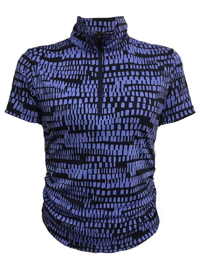 ゴルフプロ監修 四角ドットの変則ボーダーレディース半袖シャツ/青【日本製】18022