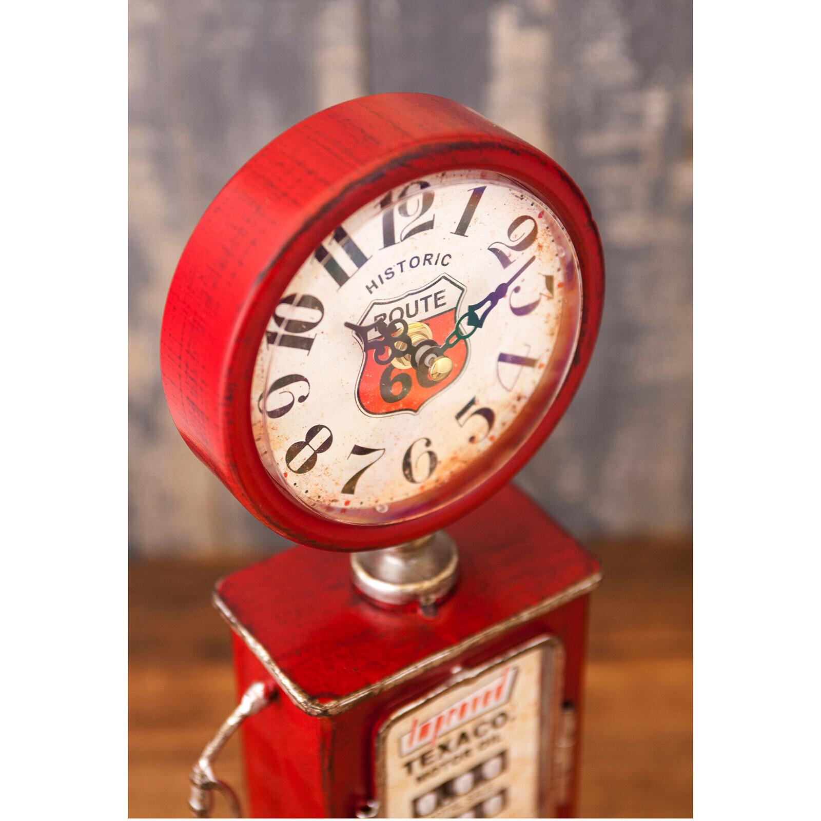 アメリカンレトロ「ガスポンプ型テーブルクロックレッド」置時計