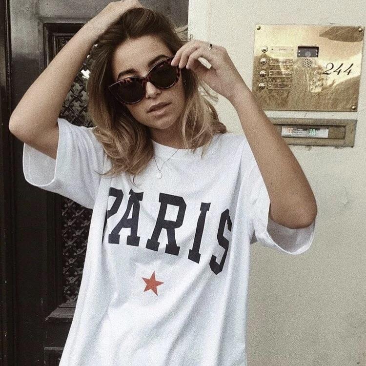 Paris ロゴ スター Tシャツ