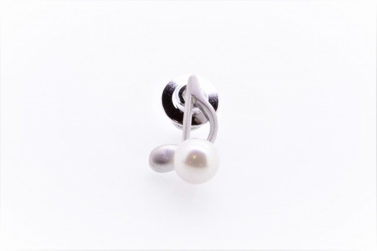 アコヤ真珠 ピンブローチ〈音符〉シルバーカラー