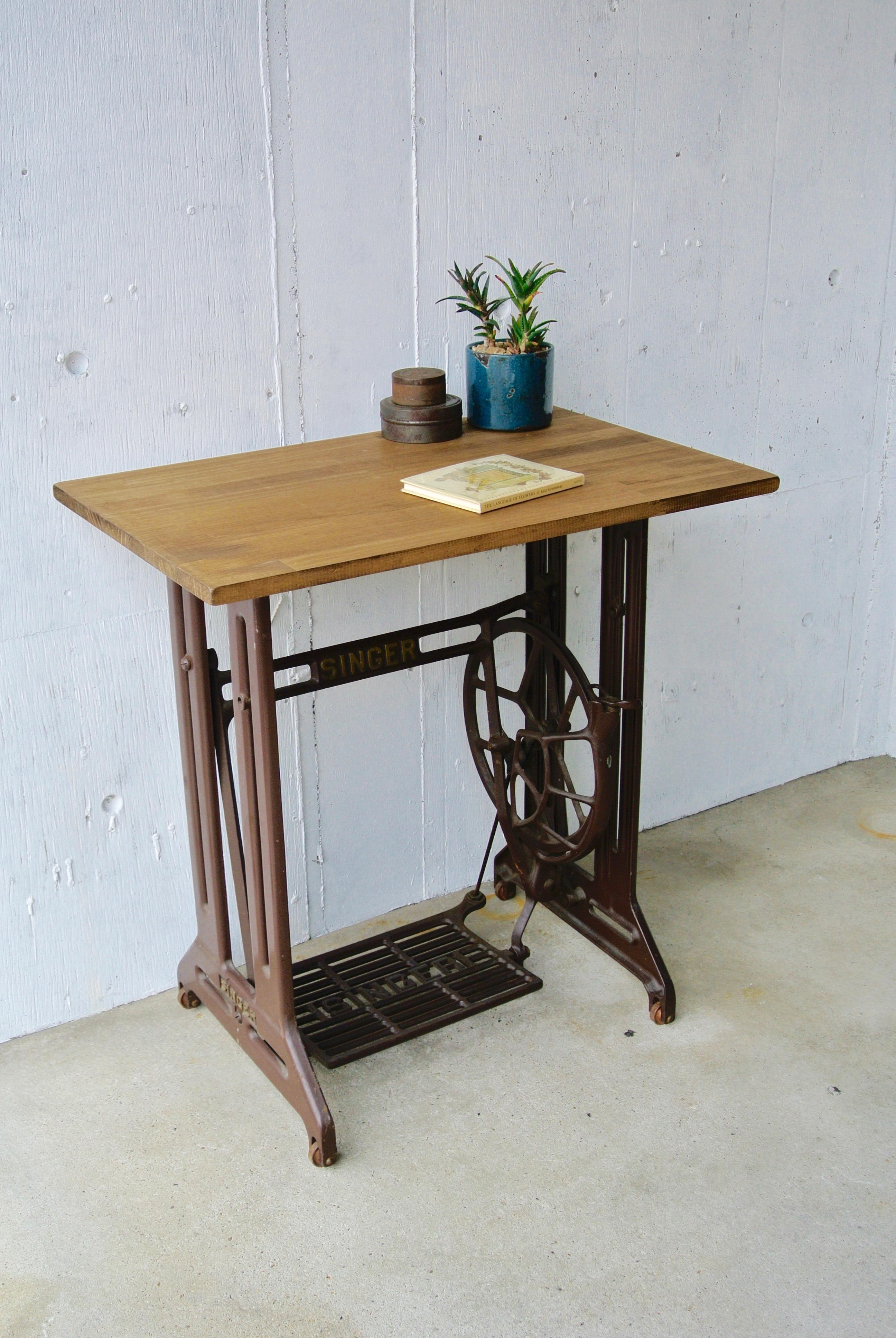 シンガーミシン脚のテーブル[オリジナルリメイク]