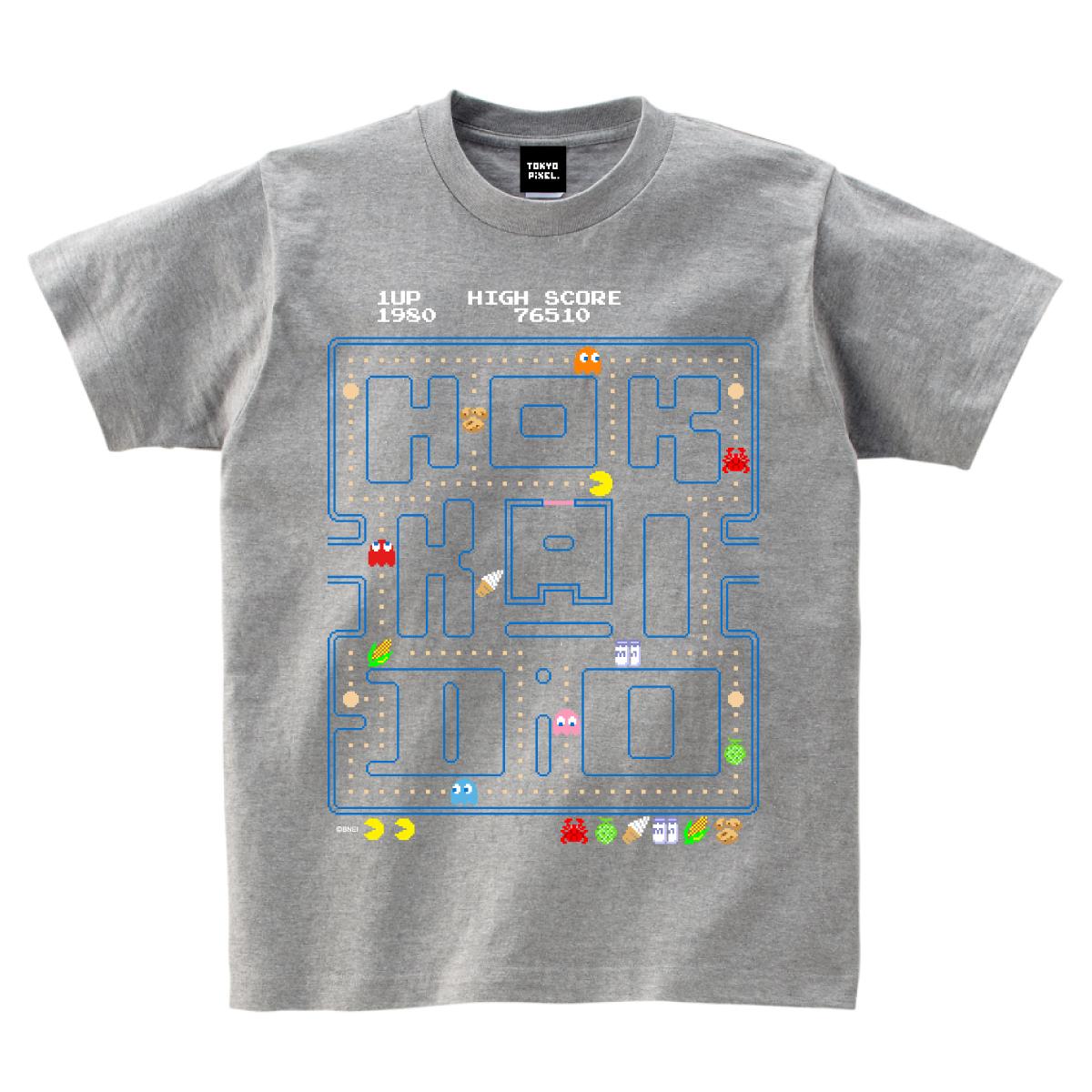 ご当地パックマン!「 Hokkaido 」 Tシャツ グレー