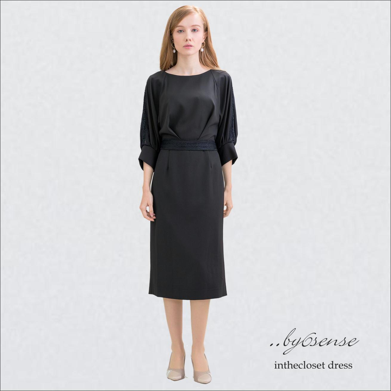 【Black】3color ボリューム七分袖 タイトドレス MLサイズ