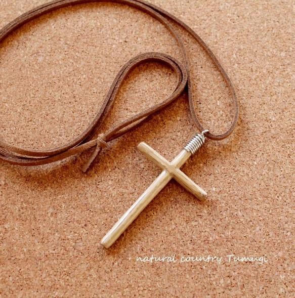 木の十字架(クロス)ネックレス#1[在庫あり][送料無料]