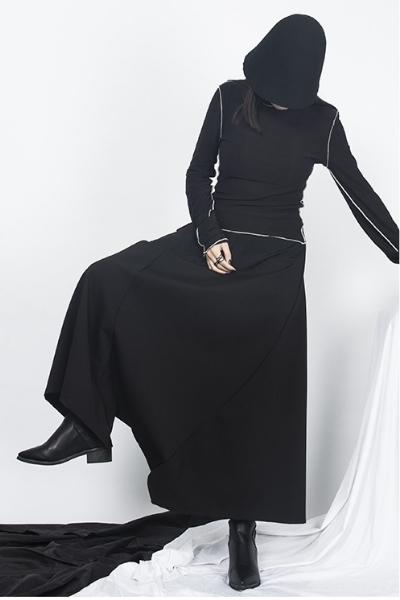 dropdrop モード系 黒 ユニセックス ワイドパンツ 袴パンツ 高級 オリジナルデザイン 黒 モード系
