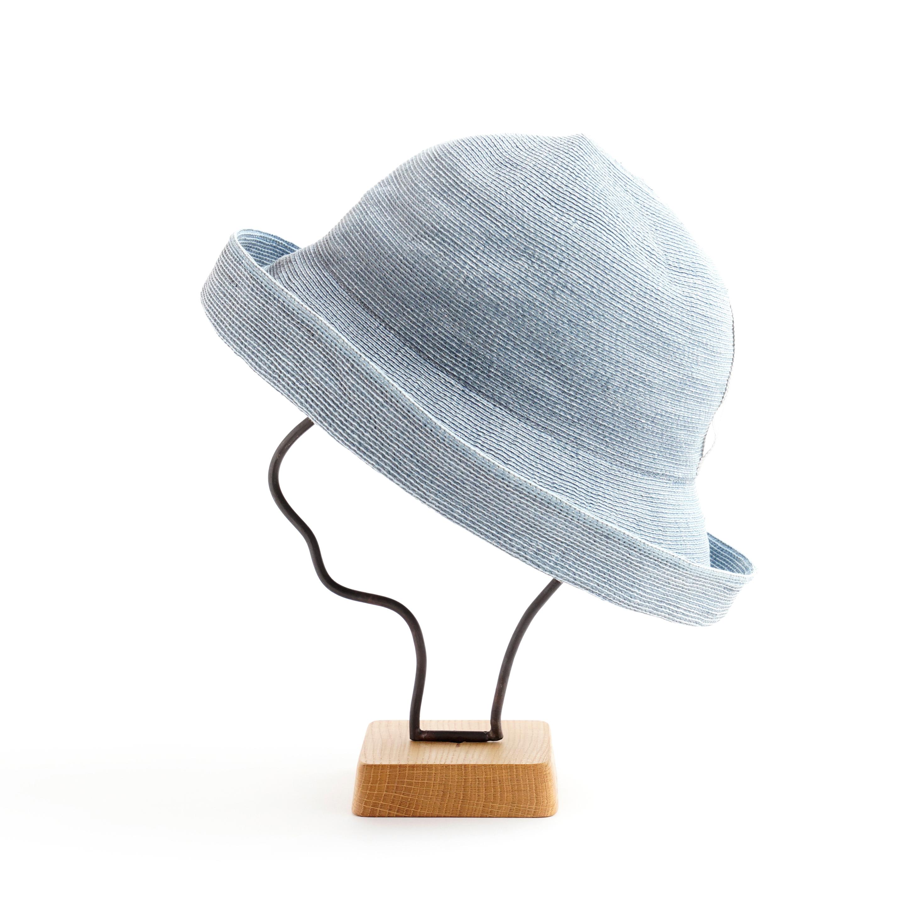 mature ha./paper linen braid denim hat wide/wash blue
