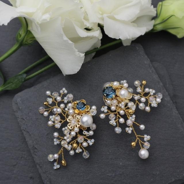 野花のイヤリング インディゴ