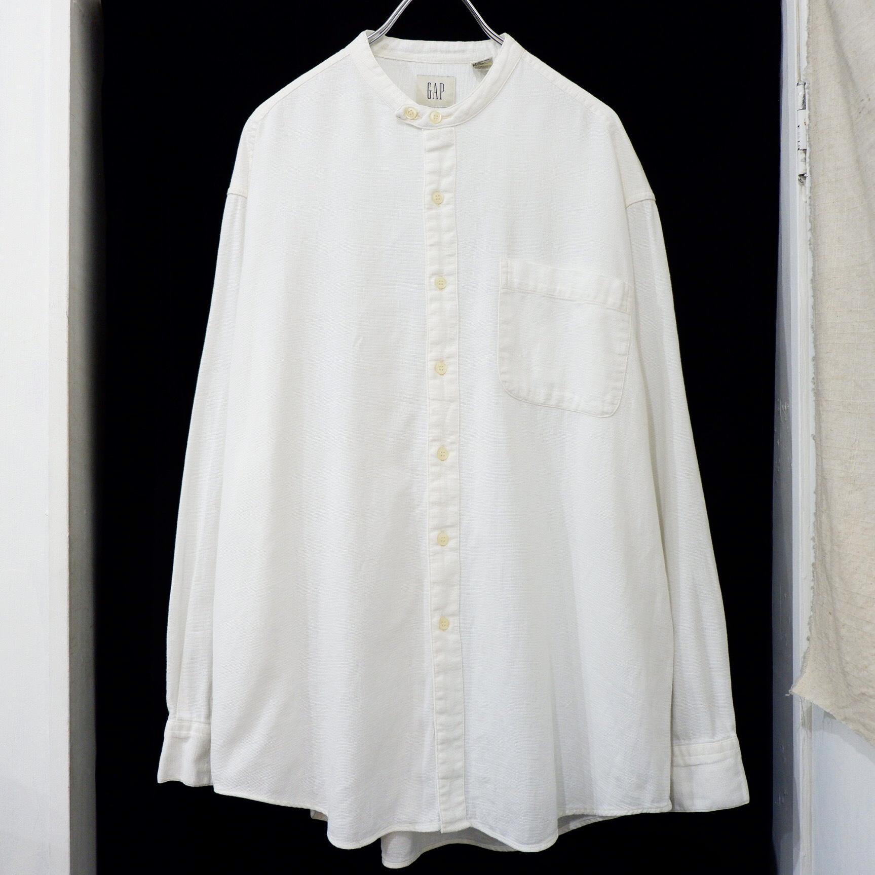 アメリカ古着 1990s old GAP コットン × リネン バンドカラーシャツ