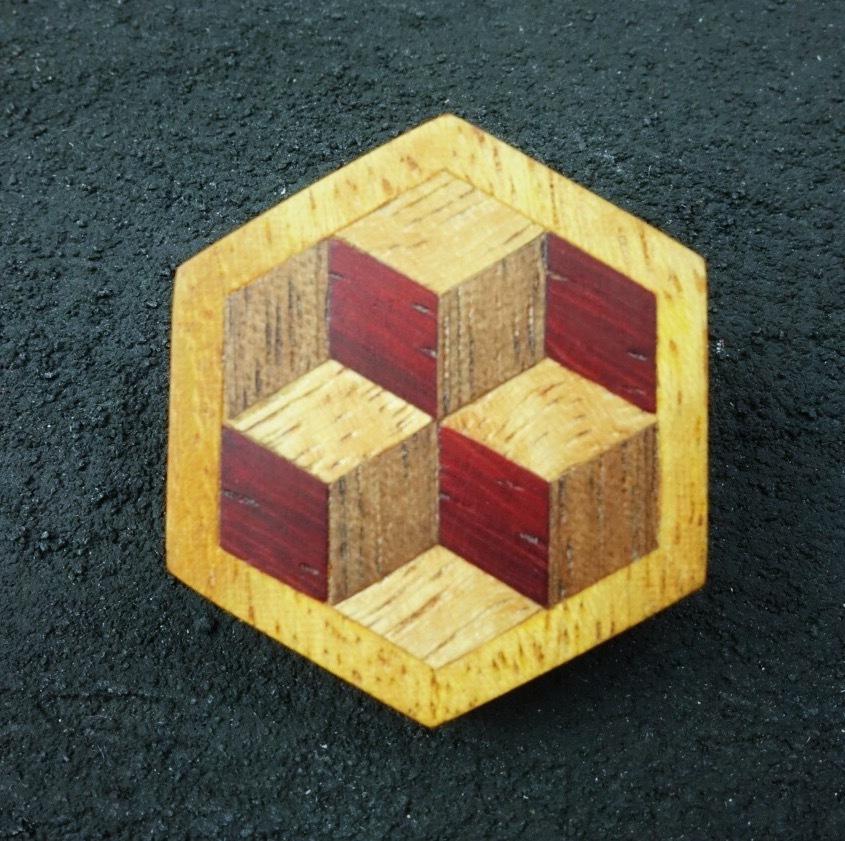 wooden inlaid charm IB-002-MGY