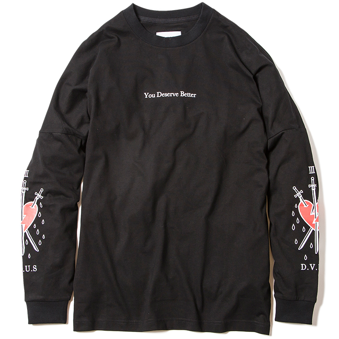 【Deviluse | デビルユース】Deserve Better Dropshoulder L/S T-shirts(Black)