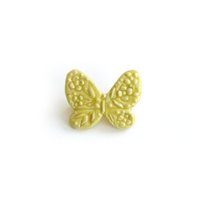蝶のブローチ・イエロー (灯々舎)
