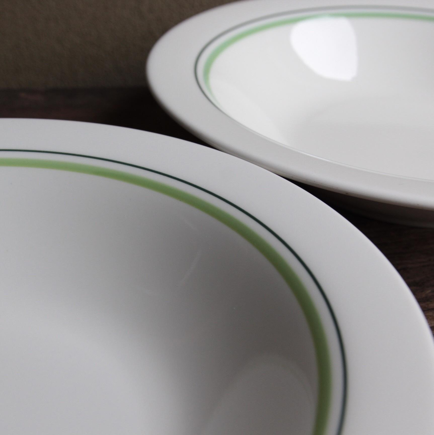 YAMAEI グリーンラインのスープ皿 在庫2枚