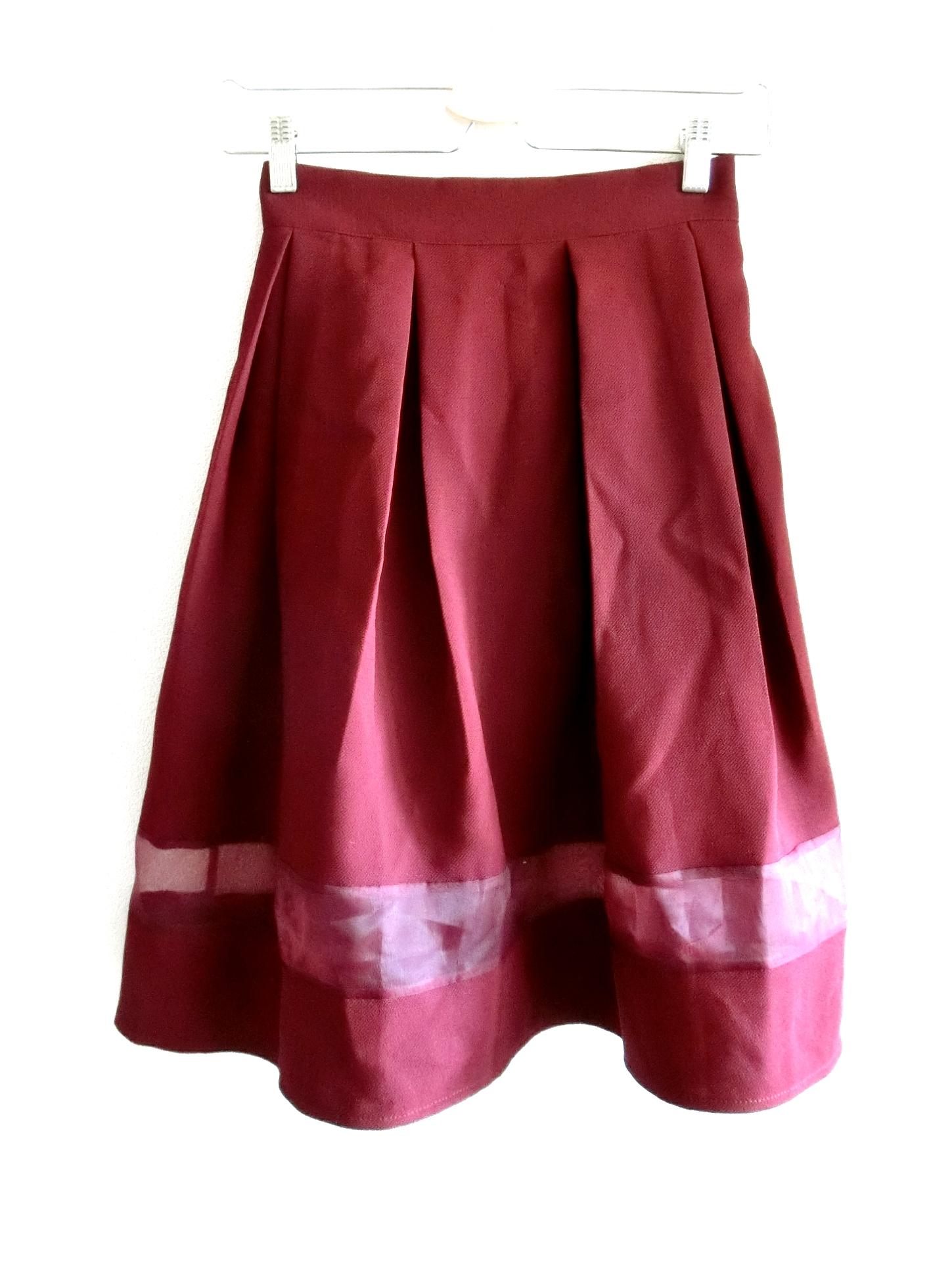 再入荷★裾シースルーのシンプルフレアースカート ワイン