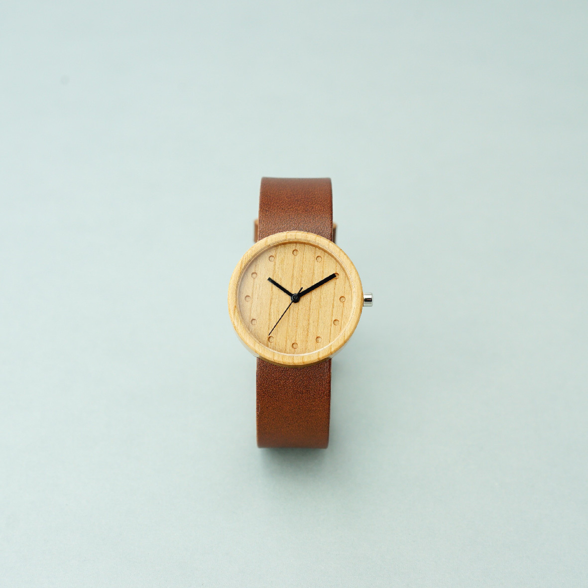 Cherry wood - Organic leather Dark Brown - M