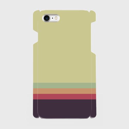 レトロストライプ(薄緑・薄水・橙・赤・紺)/iPhoneスマホケース(ハードケース)