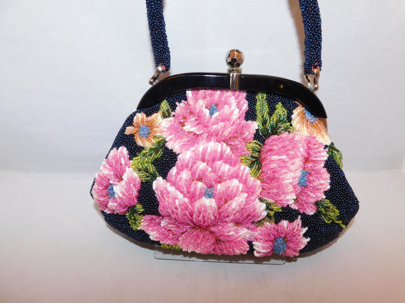 紺色に花模様ビーズビィンテージバック black color bead vintage bag(No70)