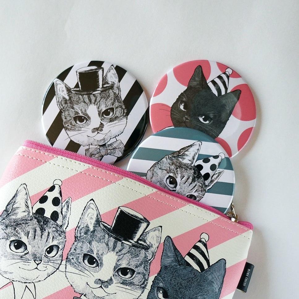 051be1e956ea HANA circus original 缶ミラー ケース付き 猫 はちわれ きじとら 黒猫 ...