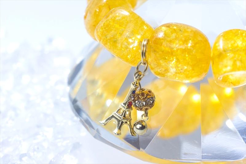 Crack Stone yellow【パワーストーンブレスレット 】 - 画像1