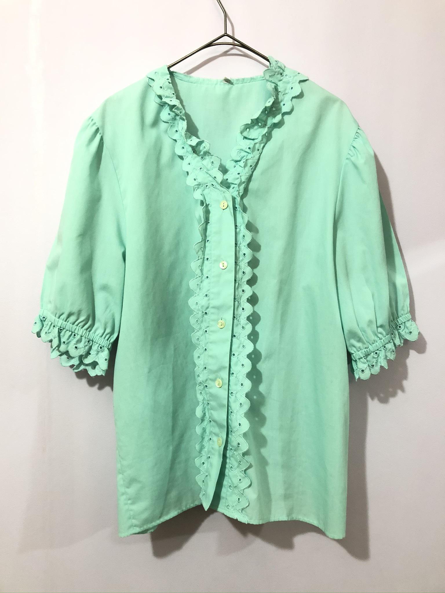 cotton frill blouse mint green