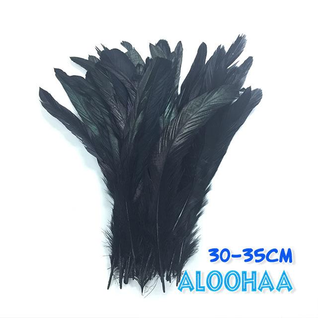 単色ロングフェザー 【ブラック】30~35cm タヒチアン 衣装 材料 ルースターテール 染め 羽根