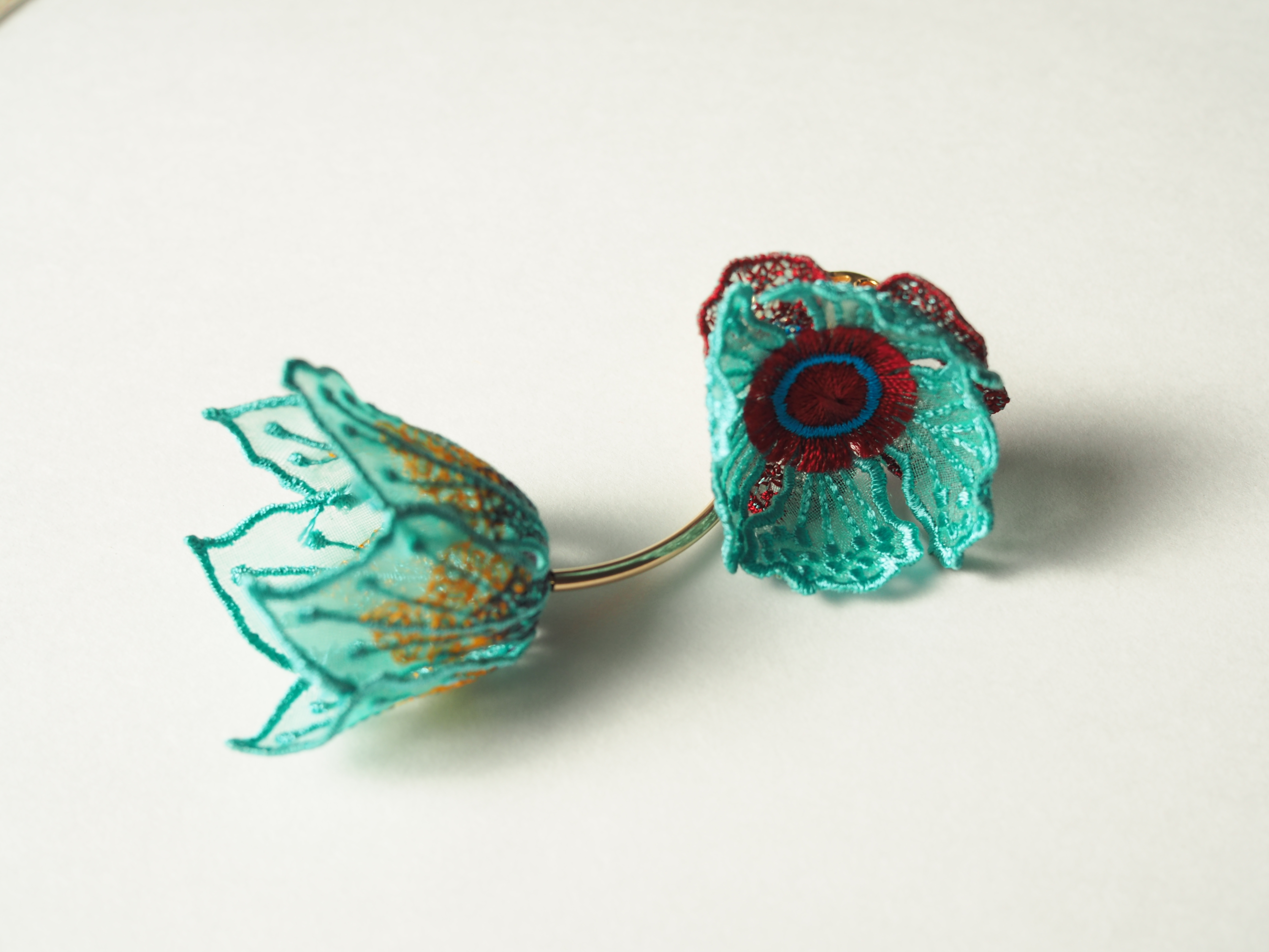 ARRO / Embroidery earing / FLOWERS AT DAWN / MINT