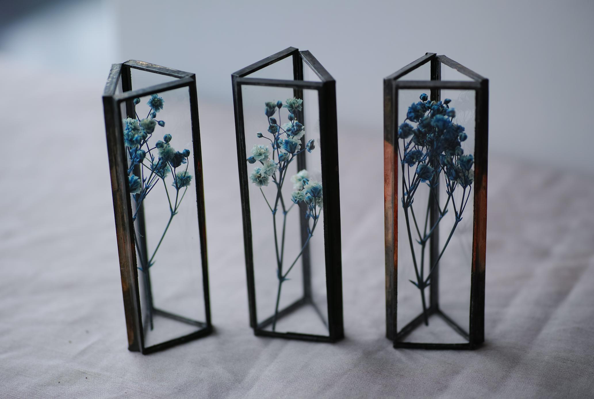 お在庫3点◆ △植物標本:プリザーブドフラワー〚かすみ草 マーブルブルー〛