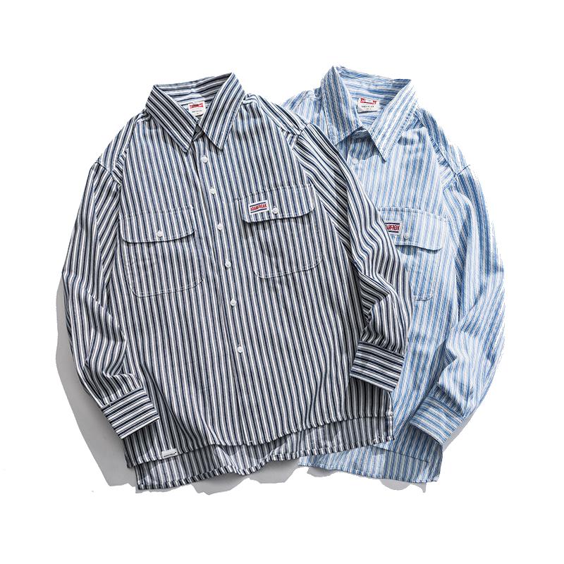 【UNISEX】ブルー ストライプ ロングスリーブシャツ【2colors】