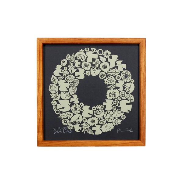 BIRDS' WORDS Silk Screen 20 Wreath ダークグレー/クリーム 額装タイプ