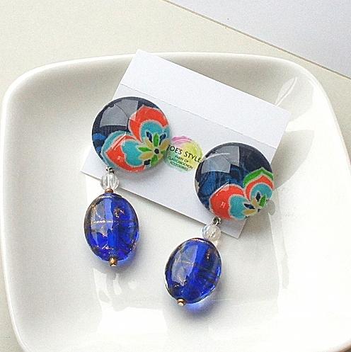 """"""" Earrings NO.318-452″ リバティとブルービーズ"""