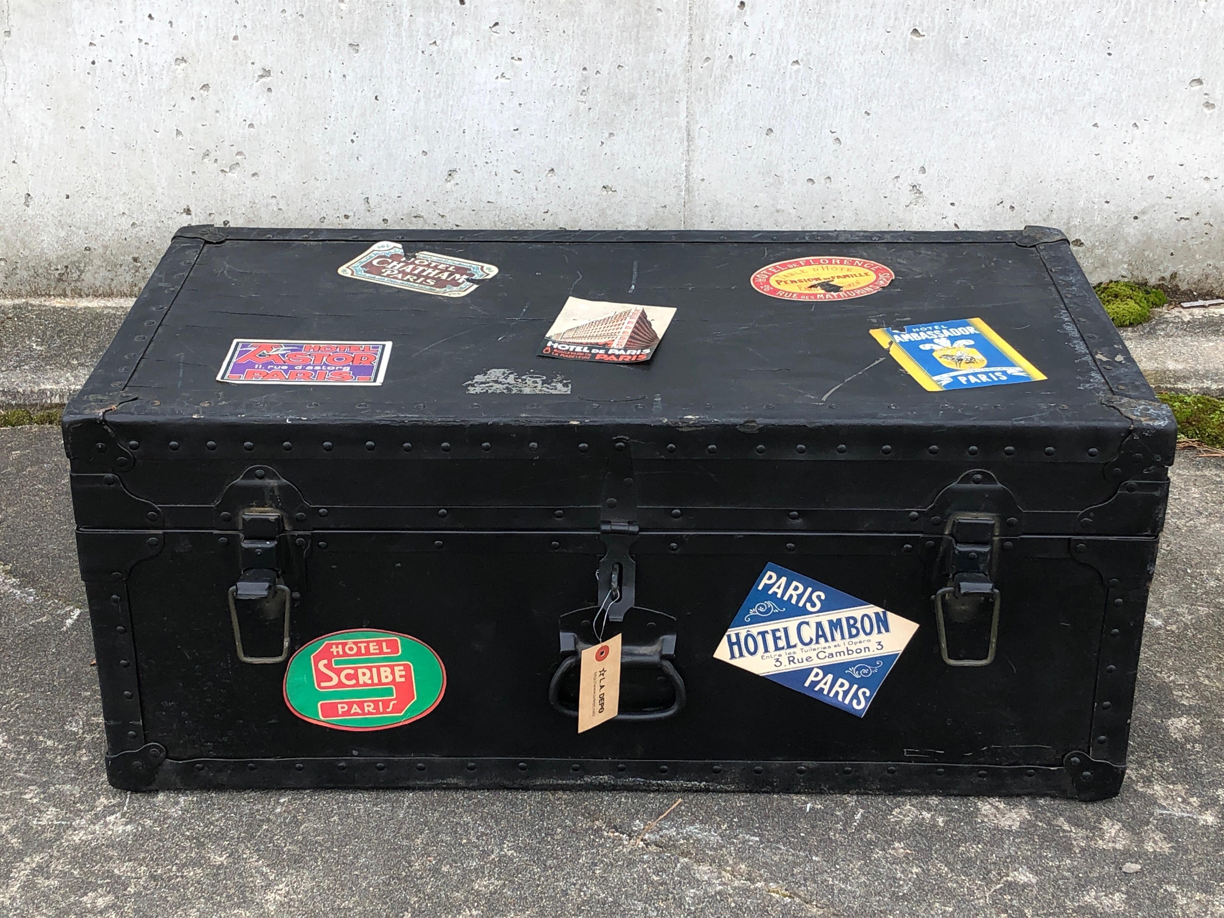 品番5186 トランクケース 黒 木製 アンティーク