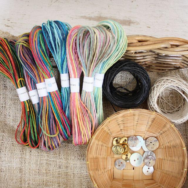 【お得なおすすめセット】イタリア産高級オリジナルヘンプでぐるぐる巻きブレスレットが作れる材料セット Part3(ネコポス発送可能)
