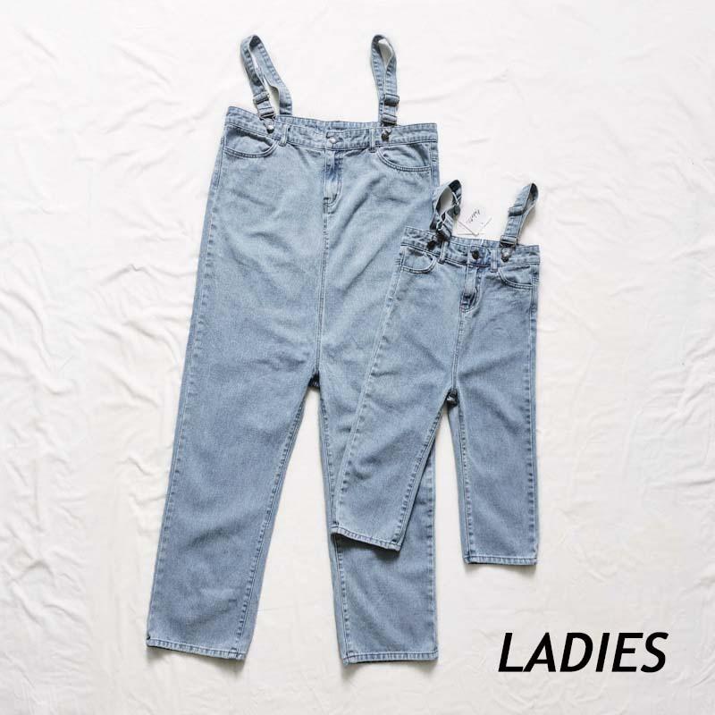 【LADIES】親子おそろいハイウエストデニムサロペット【L019】