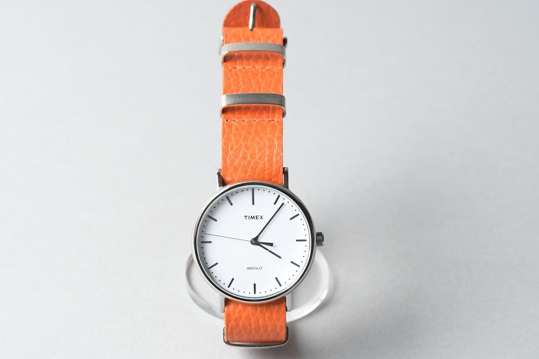 NATO STRAP革の時計ベルト □オレンジ・ゴールド□ _イタリアンレザー ナトータイプ 腕時計付替えベルト_ - 画像4
