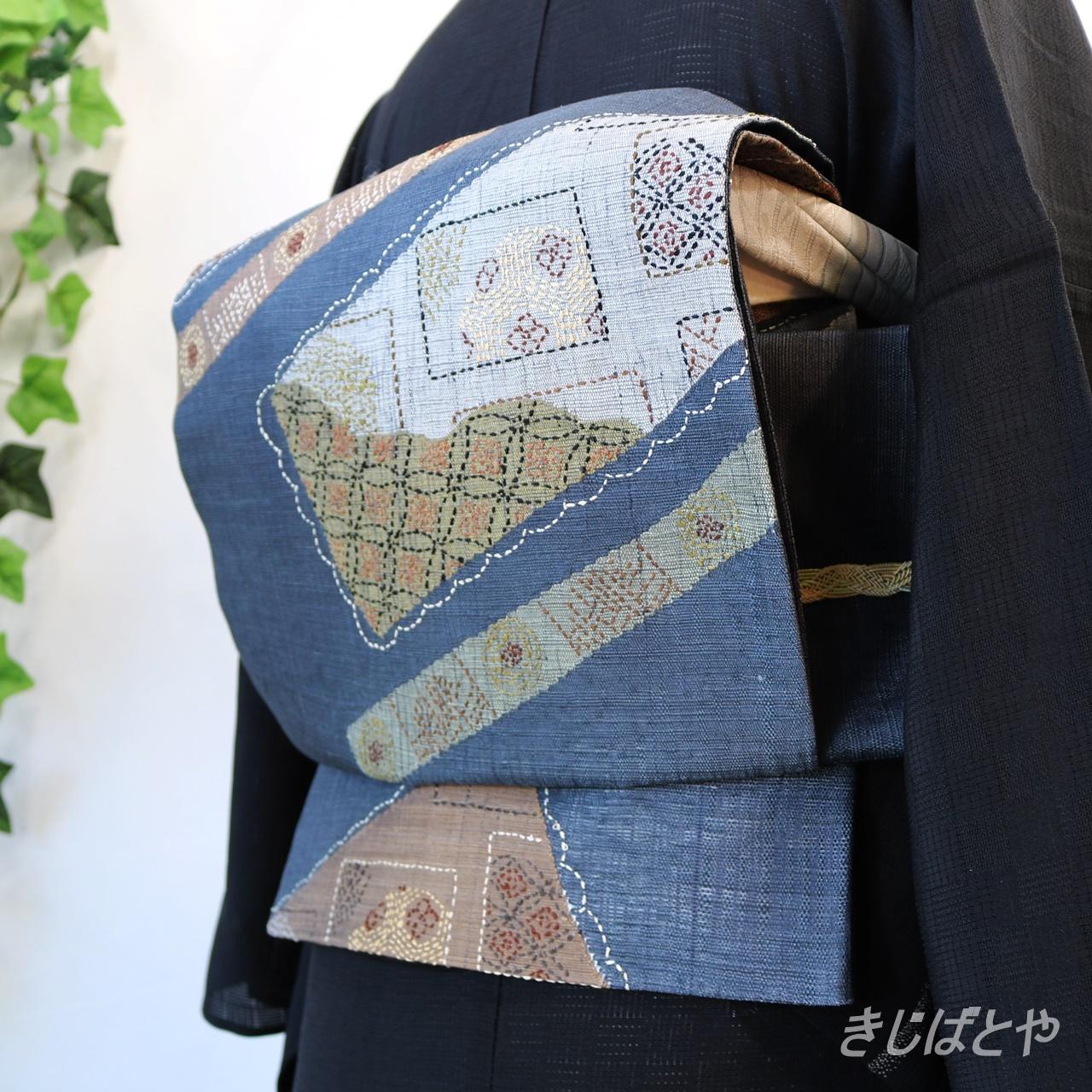 正絹 錫紵に刺し子の夏の袋帯