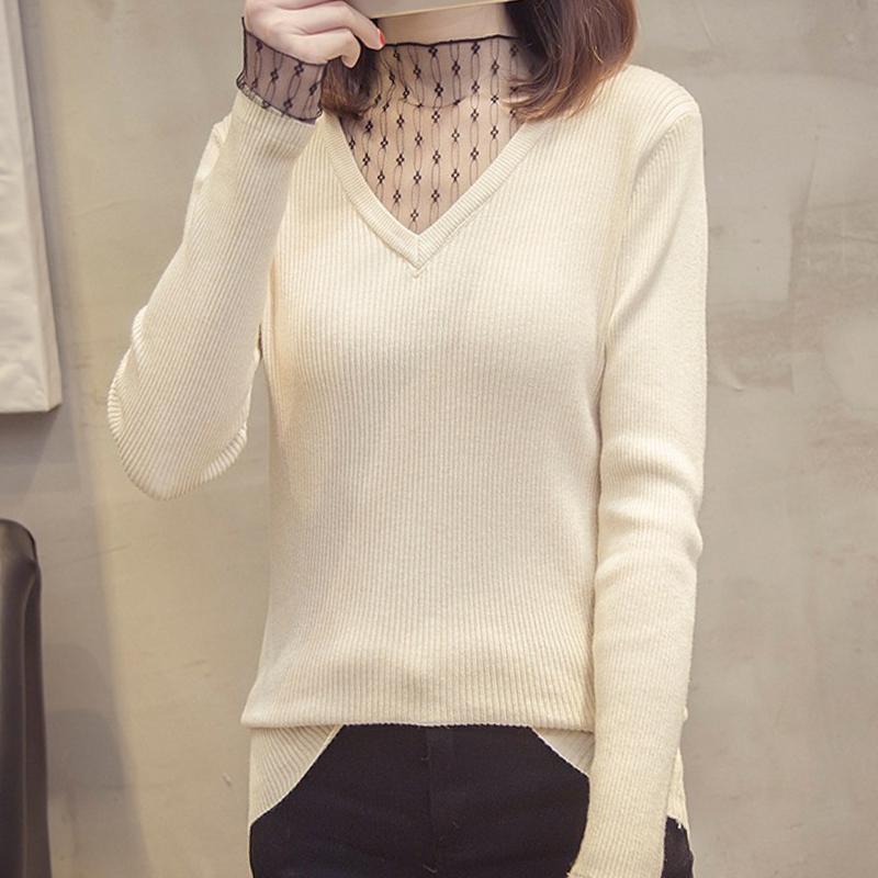 【トップス】Vネックメッシュ切り替え長袖セーター