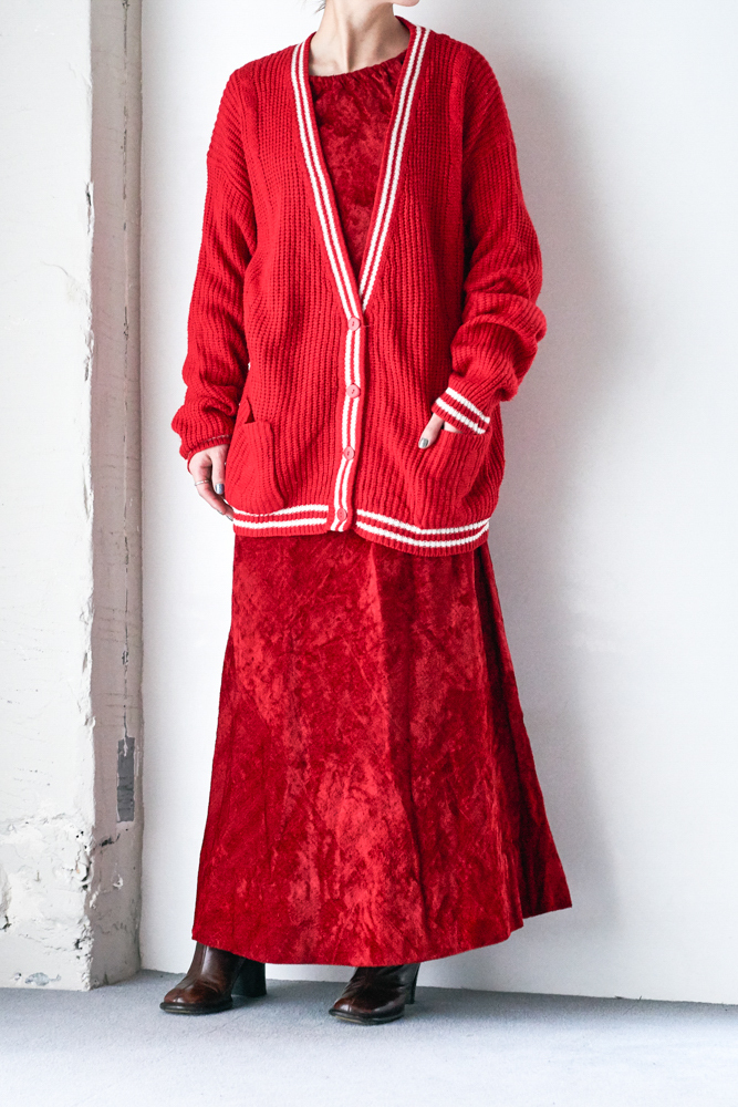 80's Vivid Red Cardigan Knit