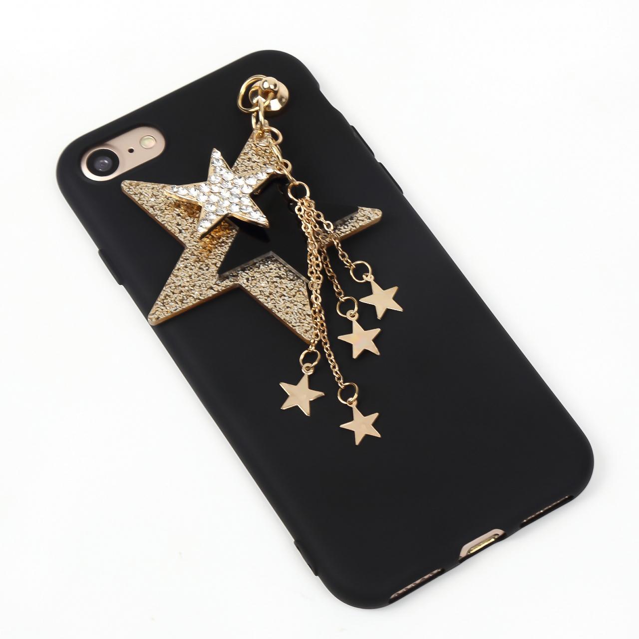 【送料無料】ブラックソフトケースにスターのチャーム iPhoneケース