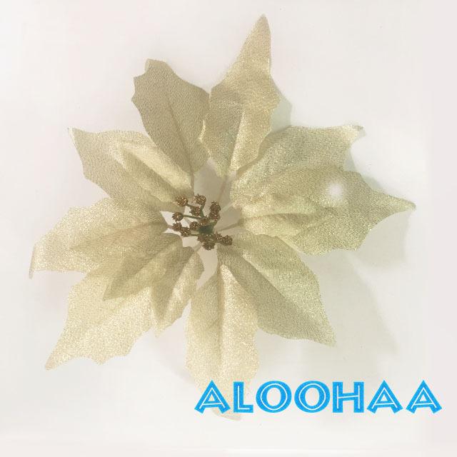 ポインセチア 25cm 造花 メタリックシルバー フェイクフラワー