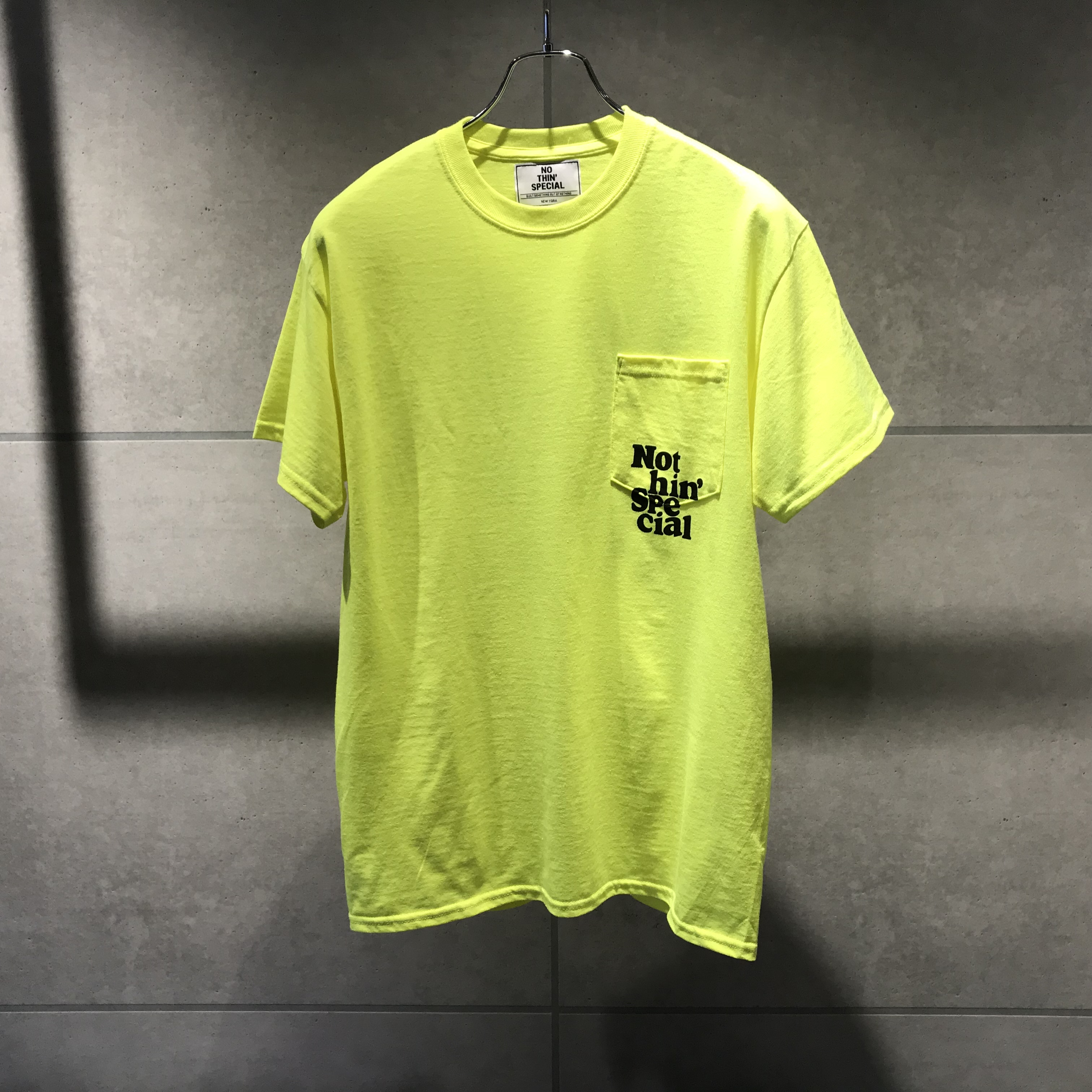 NOTHIN'SPECIAL DON'T BUY THE HYPE POCKET TEE / SAFETY YELLOW x BLACK