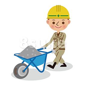 イラスト素材:手押し車を押す土木作業員(ベクター・JPG)