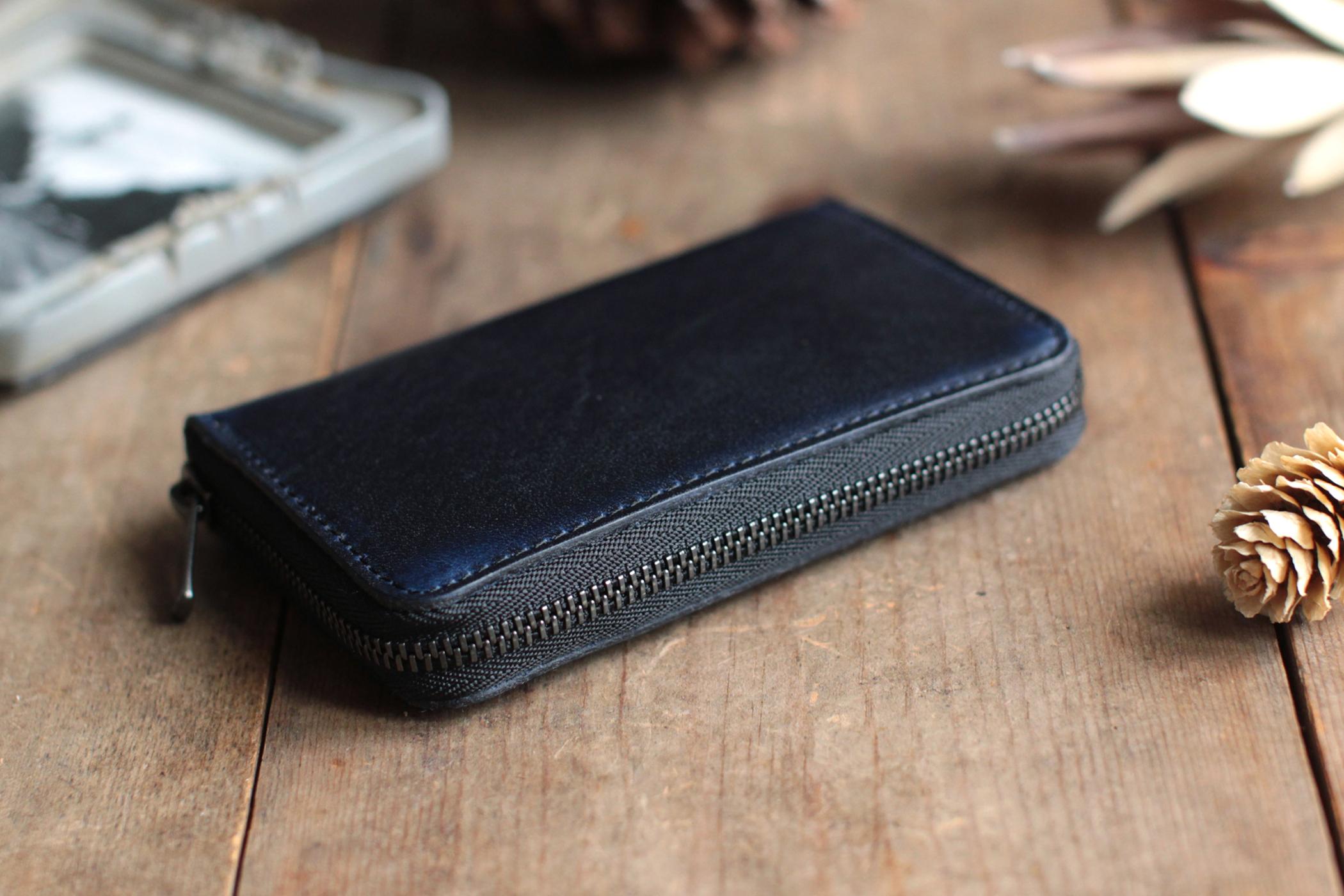 藍染革[migaki&bridle] ×オイルレザー コインケース