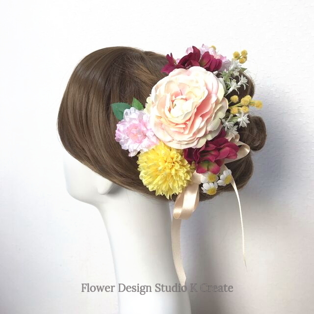 成人式・結婚式・卒業袴に♡ラナンキュラスと桜、ミモザのへッドドレス(13点セット)和装 着物髪飾り 和装婚 成人式前撮り