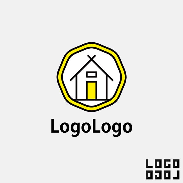 ロゴマークデザイン イラストのようなシンプルでかわいい家のデザインのロゴ